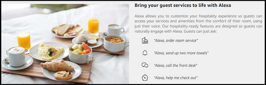 Alexa for Hospitality allows access to hotel services and information