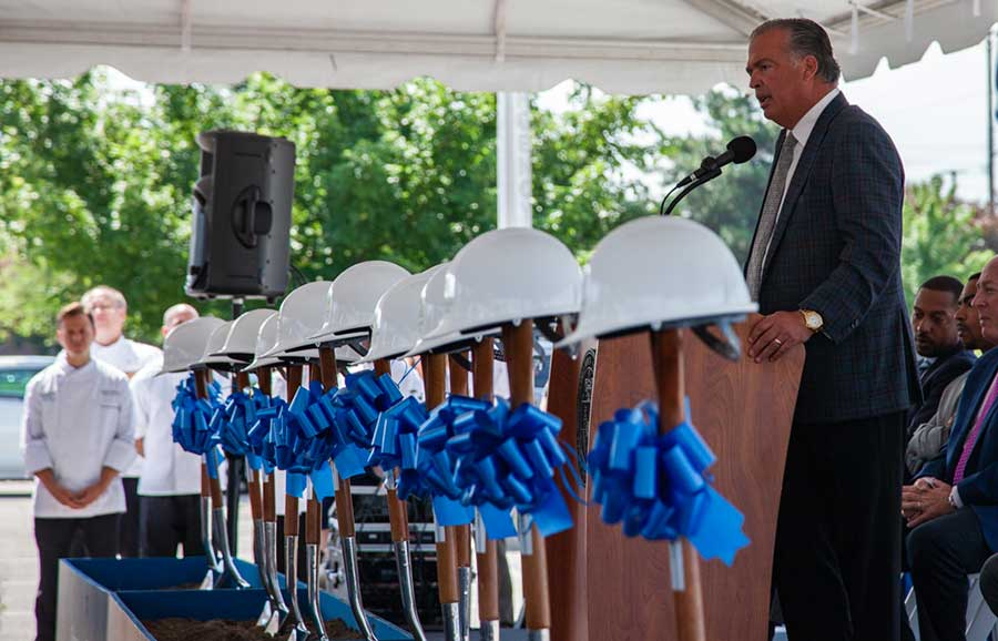 Cameron Mitchell addresses the crowd at the groundbreaking for the new Mitchell Hall, future home of the Hospitality Management and Culinary Arts program at Columbus State Community College