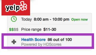 Yelp adds health inspection report scores