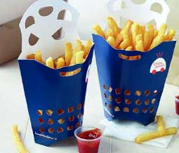 Lamb Weston's specially formulated delivery fries in their vented container.