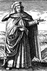 An engraving showing Mary the Prophetess, who lends her name to the modern bain marie.