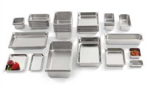 A variety of hotel pans in various sizes & configurations.