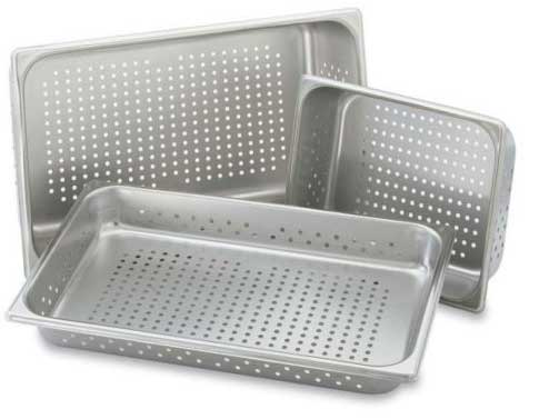 Perforated hotel steam table pans from Vollrath