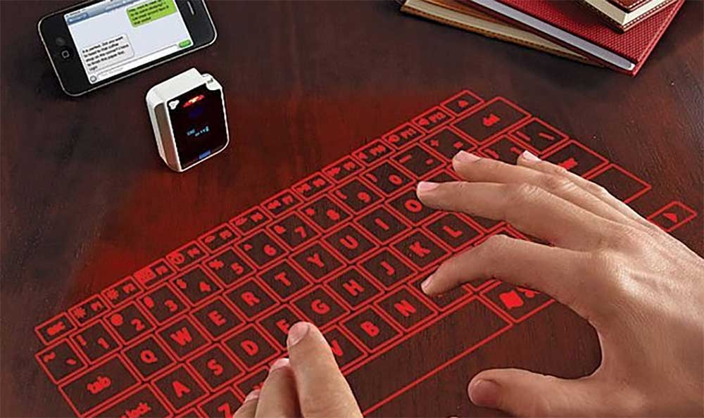 A projected keyboard turns any flat surface into an input device.