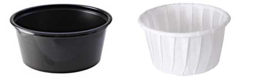 A plastic souffle cup from Fabri-Kal and a paper souffle cup from SOLO