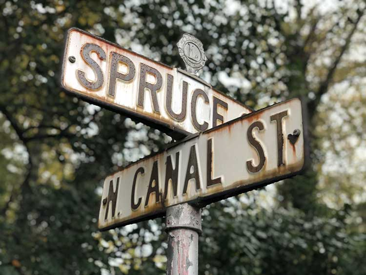 The intersection of Spruce and Canal Streets in Wilkes-Barre, PA.