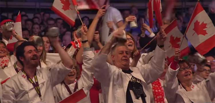 The Canadian delegation cheers on their team at the 2019 Bocuse d'Or.