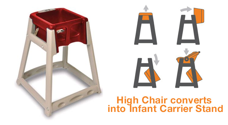 High chairs and booster seats are a must. A high chair that does double duty as a car seat holder is a bonus.