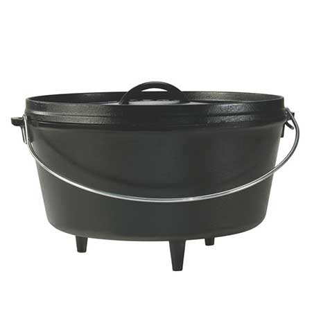 For the Great Outdoors: This 8 Qt. Camp Dutch Oven With Legs & Flanged Lid from Lodge Manufacturing.