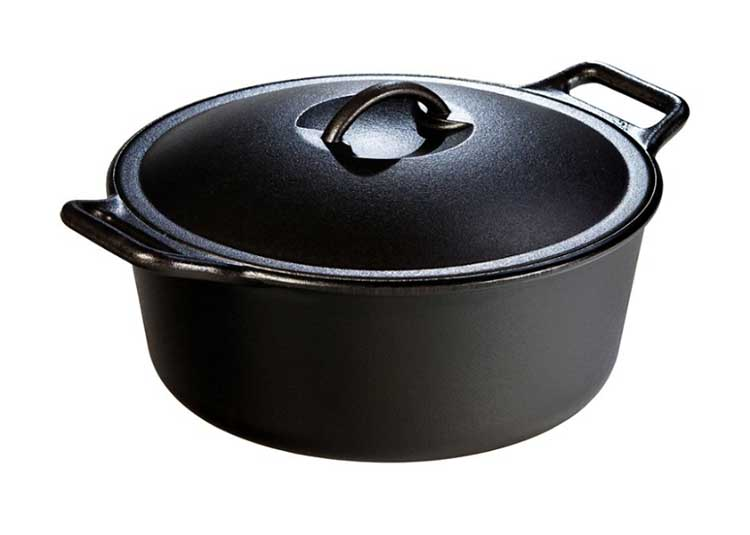 The classic bare cast iron dutch oven from Lodge Manufacturing.