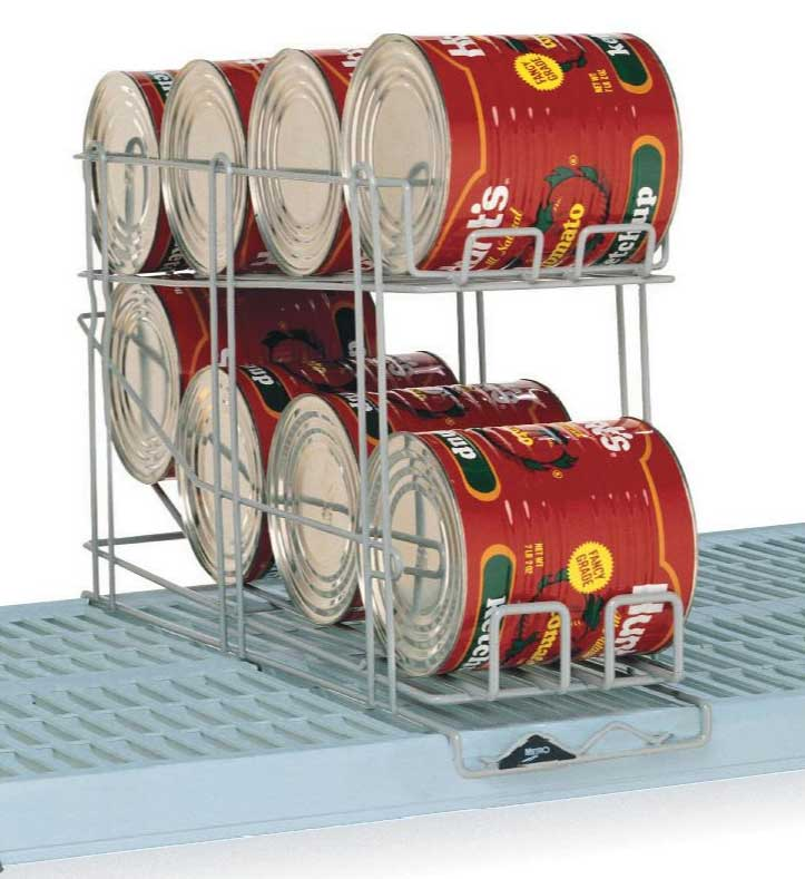 A good can rack can make storage and stock rotation easy - like this convenient shelf model from Metro.
