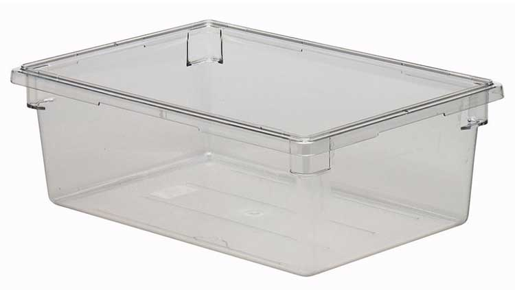 Use storage boxes on your shelves to keep things organized like this box from Cambro.