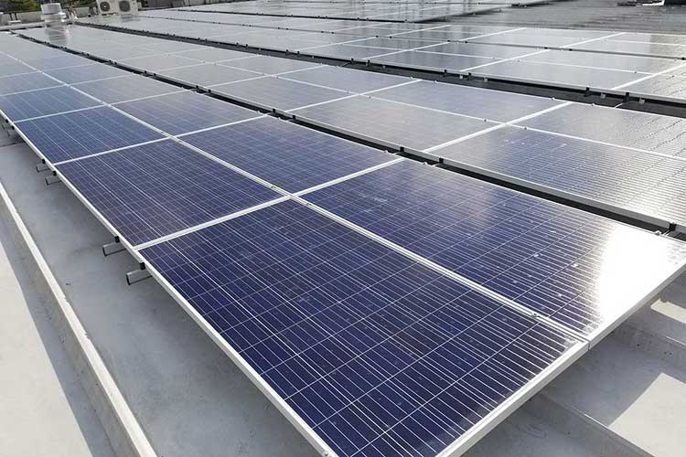 Solar panels installed on the roof of the Wasserstrom building supply about a third of the building's energy needs.