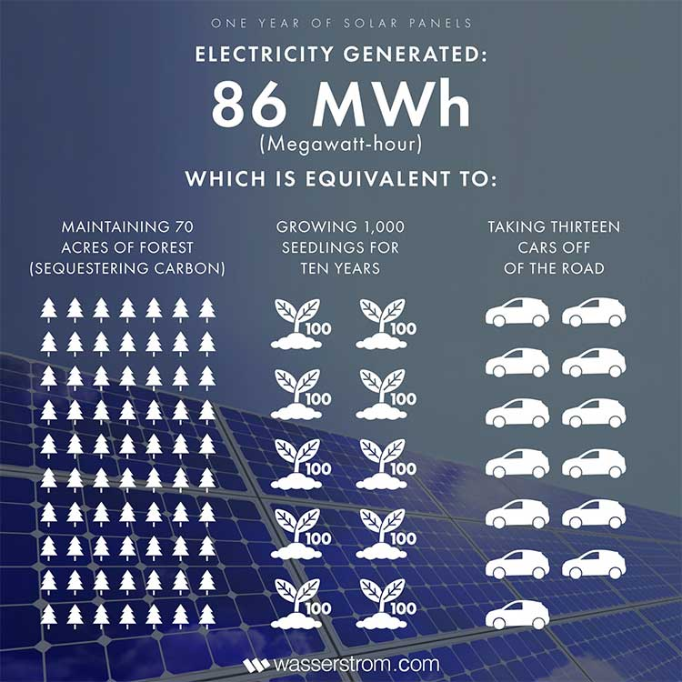 An infographic that shows the environmental equivalents of our solar panel usage.