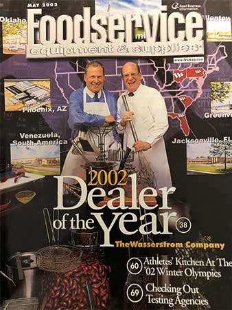 Alan & Rodney Wasserstrom on the cover of the May 2002 issue of Foodservice Equipment & Supplies magazine.