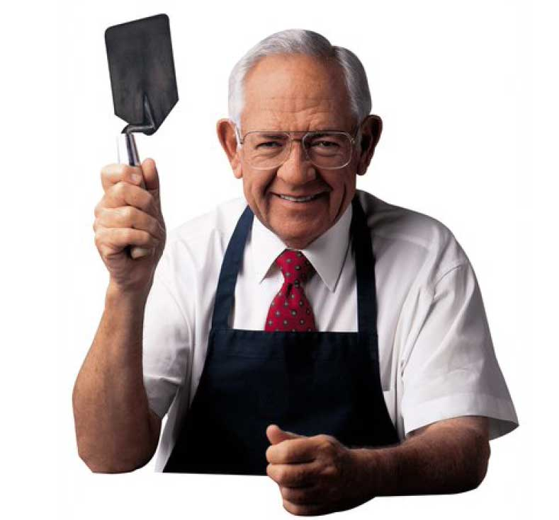 Wendy's spatulas, like the one in this iconic photo of Dave Thomas, were originally made by Wasserstrom by cutting down cement trowels.
