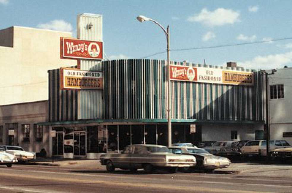 If you look at pictures of the first Wendy's store, you see blue and white stripes on the outside walls of the building – those were actually downspouts that we cut and flattened.
