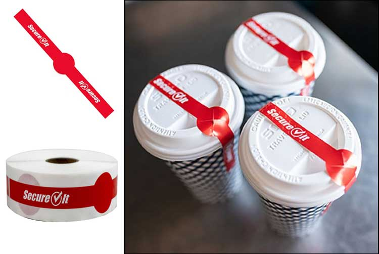 These tamper-evident adhesive strips provide protection and easy straw access on many disposable cups.