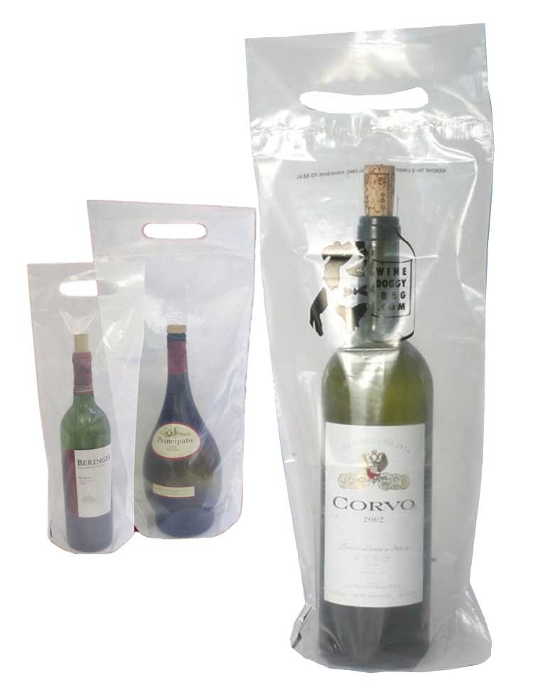 Wine bags for delivery & takeout feature a reinforced handle and a tamper-evident adhesive seal.