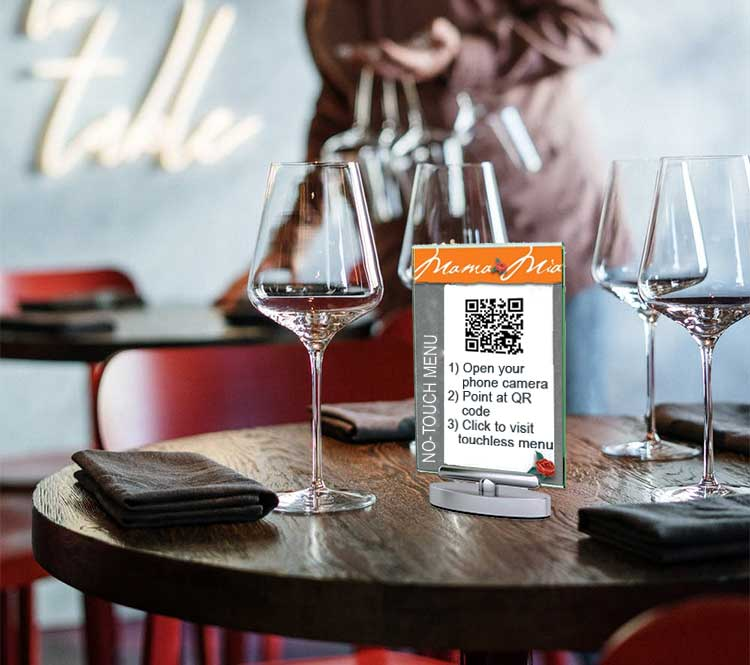 Use a QR code to easily direct customers to your online menu for an easy touchless menu that customers can view on their phone.