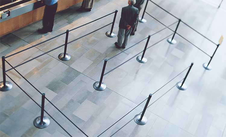 Retractable belt barriers can be used to direct customer queues or they can be used to indicate which parts of your dining area are blocked off to reinforce social distancing.