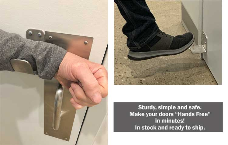 """Sani-Pull Reduced Contact Door Openers quickly convert existing doors to """"hands-free"""" solutions."""