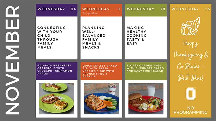 An example of the Simple Suppers programmed schedule.