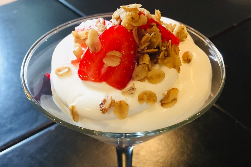Chef Simone's Yogurt Espuma with Quick-Pickled Balsamic Strawberries and Granola.