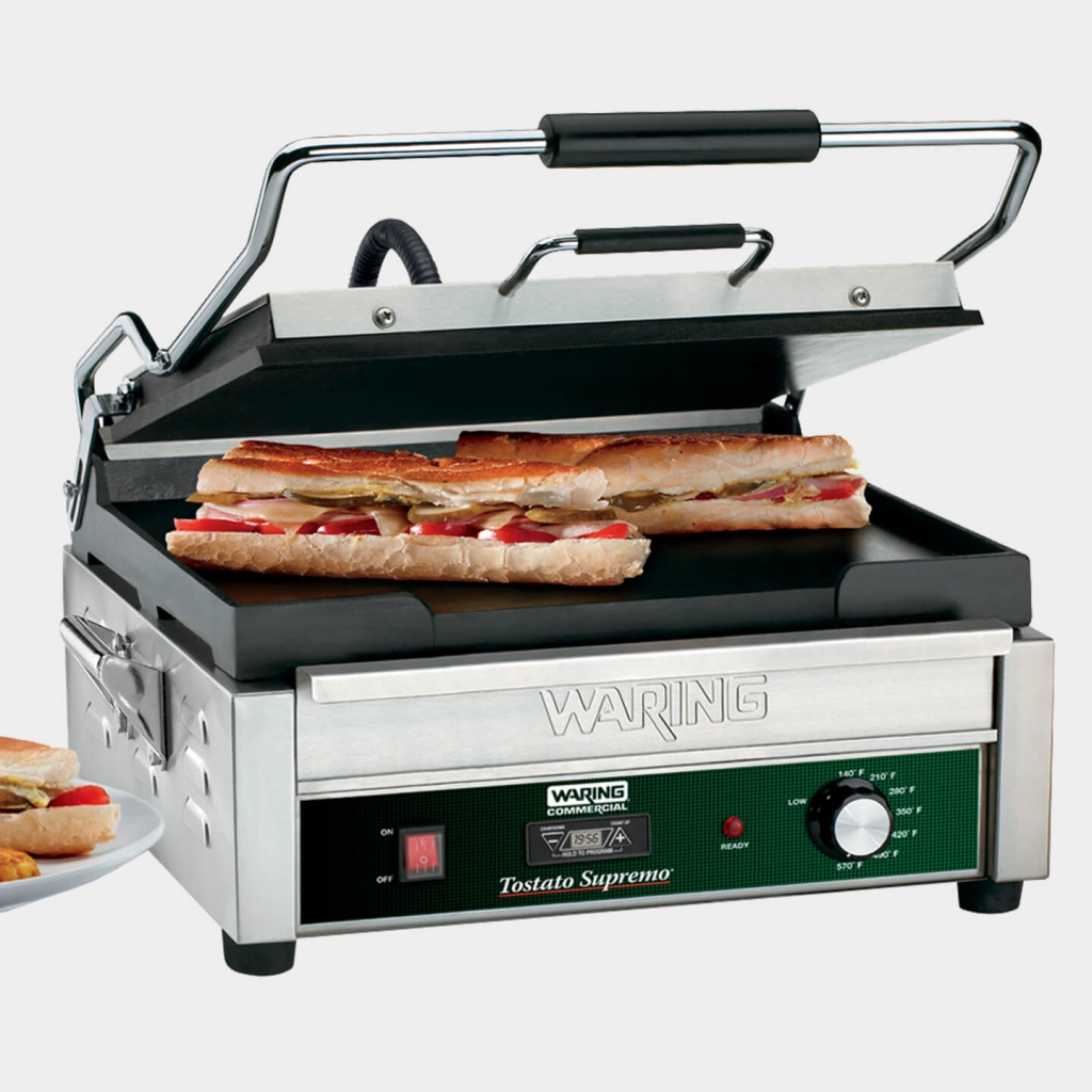 """Full Size 14"""" x 14"""" Flat Toasting Grill With Timer, WFG275T"""
