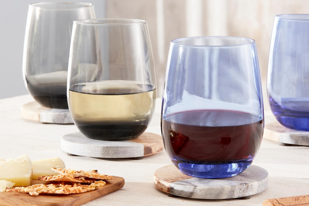 Libbey's stemless glasses in moonstone grey and tidal blue.