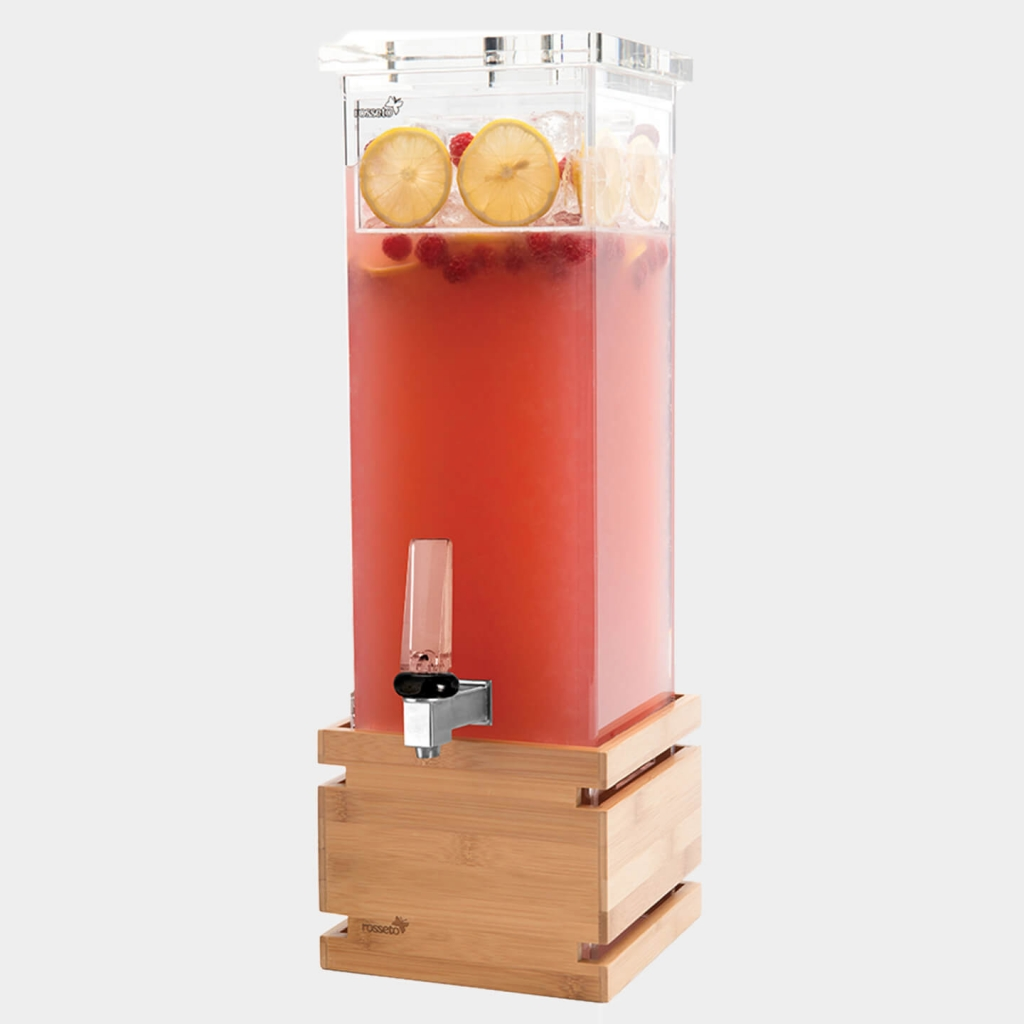 Square Beverage Dispenser with bamboo base by Rosseto.