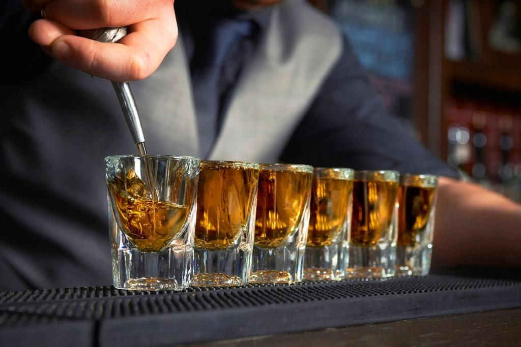 Shot glasses full of bourbon!
