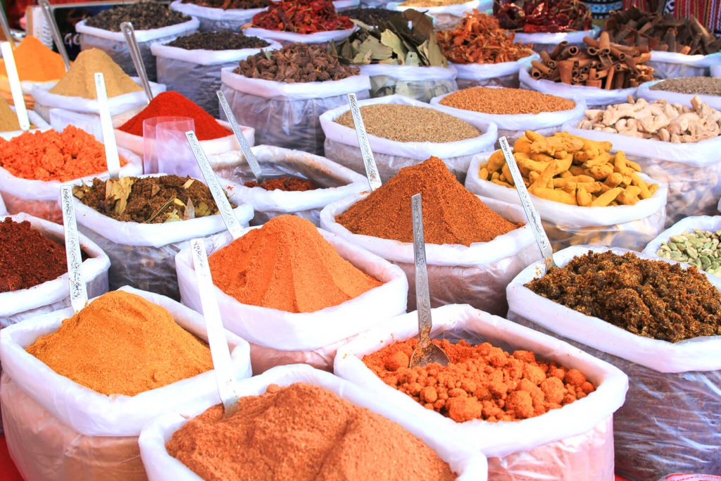 Spices at a spice market.