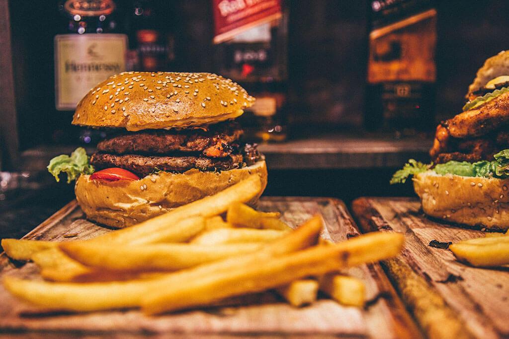 Hamburger bun with sesame seeds.